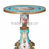 Imitate Figurine Porcelain Center Table With Brass Mounted Edge, Hand Painting European Small Round Table Inlaid Ceramic Desktop