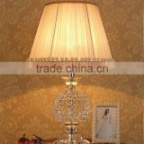 Modern home lamp crsytal ball design clear K9 crystal table lamp with white color lampshade