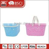Wholesale cheap small Plastic Baskets with Handles fruit basket for Storage Shopping bathroom