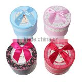 Paper Party Gift Boxes Round At Random Flower Pattern