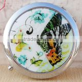 Make Up Mirror,Cosmetic Mirror for Sale,Butterfly Pocket Double Side Handbag Travel Mirror
