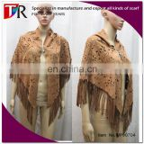 winter newest women faux suede fabric scarf suede fringe shawl poncho