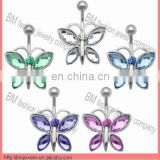 new fashion body piercing jewelry crystal butterfly belly rings piercing