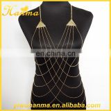 Fashionable ladies triangle sex body chain cross jewelry for women