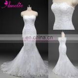 2016 Factory Wholesaler Heavily Crystal Beaded Lace Wedding Gown