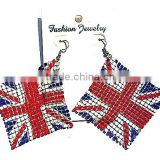 UK United Kingdom Union Jack British Flag Charm Drop Hook Earring