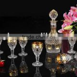 Glass Decanter and wine glass set, Wine Bottle, Flagon, Carafe, Vidrio licorera, garrafa