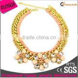 Top Popular Design Wholesale Alloy Chain Golden Necklace With Rope And Acrylic Stone Flower