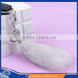 Wholesale 2015 Natural Blue Fox Fur Tail / Fashion Dyed Color Fox Tail Fur Keychain