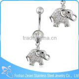 Stainless steel crystal women belly ring dangling elephant body piercing jewelry