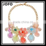 2016 Big Flower Choker Necklace Colorful Glod Chain Resin Statement Necklaces&Pendant For Women