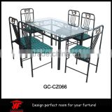 Simple kids stainless steel dining table and chair sets with korean table top