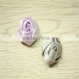 2pcs Shabby Chic Baby Doll lavender grey Satin Ribbon Rose Flower Applique Hair Bow