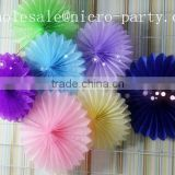colorful handmade paper product for decor ,tissue paper fan for party wedding decorations