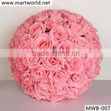 2016 hot sale pink flower ball for wedding decoration,artificial flower for wedding & party decoration (MWB-007)