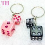 trade assurance good quality pink white crystal number pattern metal custom wholesale key ring numbers