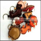 promotional gifts products handmade PU leather keychains leather key rings cute keyrings wholesale