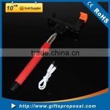 2015 popular selfie stick with Audio cable with shutter button monopod bluetooth carmera for travelling use