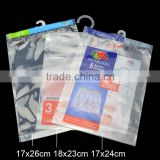 custom size pp material self adhesive bag with pothook with custom printing for clothes packing