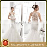 A32 Dramatic Tiered Ruffle Wedding Party Gown Full Length Mermaid Tulle V Neck Sexy Wedding Dress with Button Back                                                                         Quality Choice