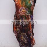 100% viscose fabric tie & dye pattern fishes printed umbrella dresses for woman's