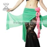 Wholesale Qiancai Wuchieal colorful bellydance hip scarves,rose flower belly dance hip scarf (YL120)