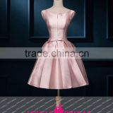 K132 A Line round collor ace up sleeveless short formal satin cocktail dress party dress