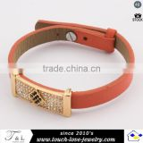 beautiful design red leather bangle crystal bangle