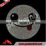 Hot Sale Crystal Korean Rhinestones Happy Face Emoji Iron on Tranfers Wholesale for Kids Clothing