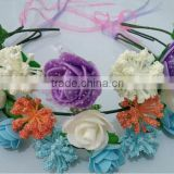 J51504 PE rose with plastic leaf headband with color silk ribbon ,bridal crown flower headband