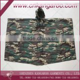 Military Polyester PVC Coated or Nylon Camouflage Coated Waterproof Poncho; Army PVC Square Poncho