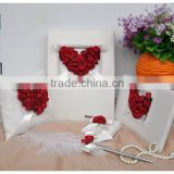 Red Satin Flowers Wedding Guest Book and Pen Set and Feather Pen and Ring Pillow and Flower Basket Decoration 5Pcs per set