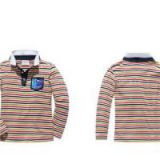 New 100% Cotton Kids Long Sleeve Stripe Print Polo-shirt