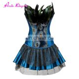 High Quality blue Peacock feather steel boned bustier waist trainer corset