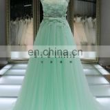 1A1045 Dreamy Light Green Crocheted Lace Sash 3D Flowers Appliqued Sleeveless Evening Dress Prom Dress Bridesmaid Dress