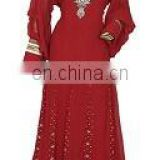 New Casual And Beautiful Red Chiffon Abaya Kaftan