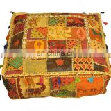 Square Shape Vishal Handicraft Vintage Print Quilted Pompom Pouf Ottoman Covers