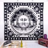 Indian Wall Hanging Tapestries Bohemian Psychedelic Tie Dye Sun Moon Indian Hippie Tapestry Bedspread Ethnic decorative White