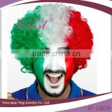 cheap wholesale synthetic italy flag multi color football sports fan wigs