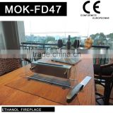 Small size free standing fireplace glass and stainless steel fireplace
