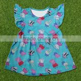 summer Latest Dress Designs wholesale girls frocks designs flutter sleeve dress for baby girl childrens boutique clothing