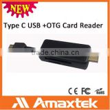 Factory price provide directly Micro USB & USB C Type Card Reader for SD series cards