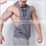 2016 OEM factory hot sell men 100% polyester sleeveless hoodies blank plain front drawstring men sports hoodies                                                                         Quality Choice