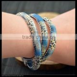 LFD-B0017 ~ New Style Mixed Color Snakeskin Cords Bracelet With Pave Crystal Rhinestone Magnetic Clasp Jewelry Bracelets