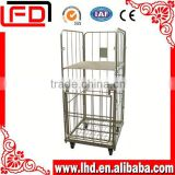 3-sides logistics platform roll container roll cage with big mesh