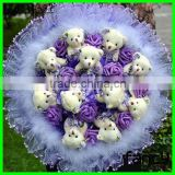 Wholesale 11 flowers with teddy bear bouquet