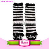 Lasttest white and black stripe pattern hot girls legwarmer with cotton ruffle wholesale                                                                         Quality Choice