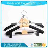 Deluxe stain black wooden hanger high quality, cheap black hanger wooden hanger for supermarket