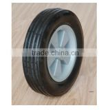 6x1.5 inch flat free caster rubber wheel with rib tread and grey plastic rim for material handling equipment