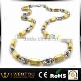 Hip Hop 316L Stainless Steel Titanium Gold and Silver Two Tone Chain Necklace
